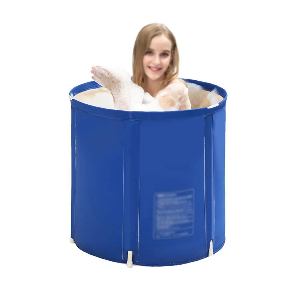 Medium Xiao Mi Guo Ji Inflatable bathtub, plastic portable adult unisex bathtub, upgraded thickened bathtub, household freestanding soaking tub, baby pool, bathtub accessories, folding travel, dark bluee Port