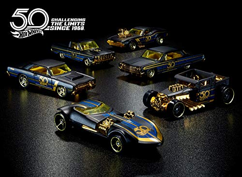 50th UPC Hot Wheels Anniversary Gold 6 Car Set 2018, Black