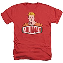 Trevco Men's Aquaman Short Sleeve T-Shirt, Heather Red, X-Large