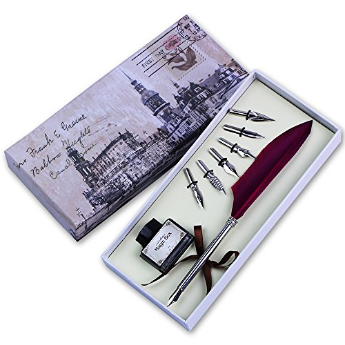 Featty Quill Pen Set Antique Dip Feather Pen Calligraphy Writing With 6 Pcs Nibs  Wine Red