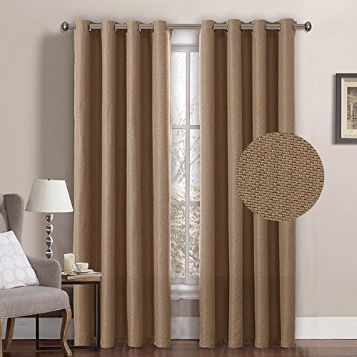 Rich Linen Curtains 84 Inches Long Blackout for Bedroom Thermal Insulated Linen Curtains Drapes for Living Room, Window Treatment Curtains Draperies Grommet Top - Tan (1 Panel) ()