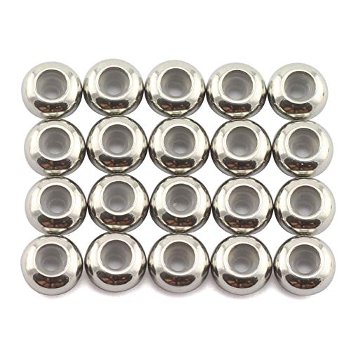 Tegg 20pcs 6mm Stainless Steel Insert Rubber Stopper Positioning Spacer Beads for Bracelet Necklace DIY Crafts Making Jewelry Findings Accessories 3mm Hole 1.2mm Height Flat Loose Beads Silver