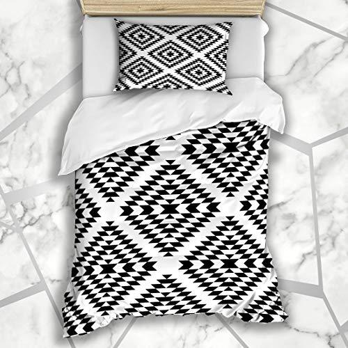 Ahawoso Duvet Cover Sets Twin 68X86 White Geo Black Aztec Geometric Ethnic Abstract Diamond Pattern Zag Zig Vintage Navajo American Microfiber Bedding with 1 Pillow Shams ()