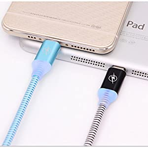 LED iPhone Charger, Lightning Cable, TechNoob iPhone USB Charging Cable 3FT LED Light Color Night Light Glowing High Speed Cord for Apple iPhone, iPad, iPod (Silver)