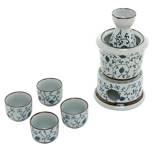 - 7-Piece Blue Floral Design White Ceramic Japanese Hot Sake Set with Warmer, 4 Cups, Carafe & Heating Pot