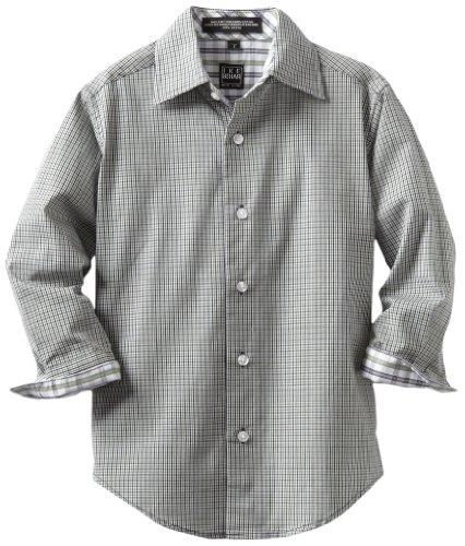 Ike Behar Little Boys' Long Sleeved Micro Plaid Shirt, Green, 6 Regular