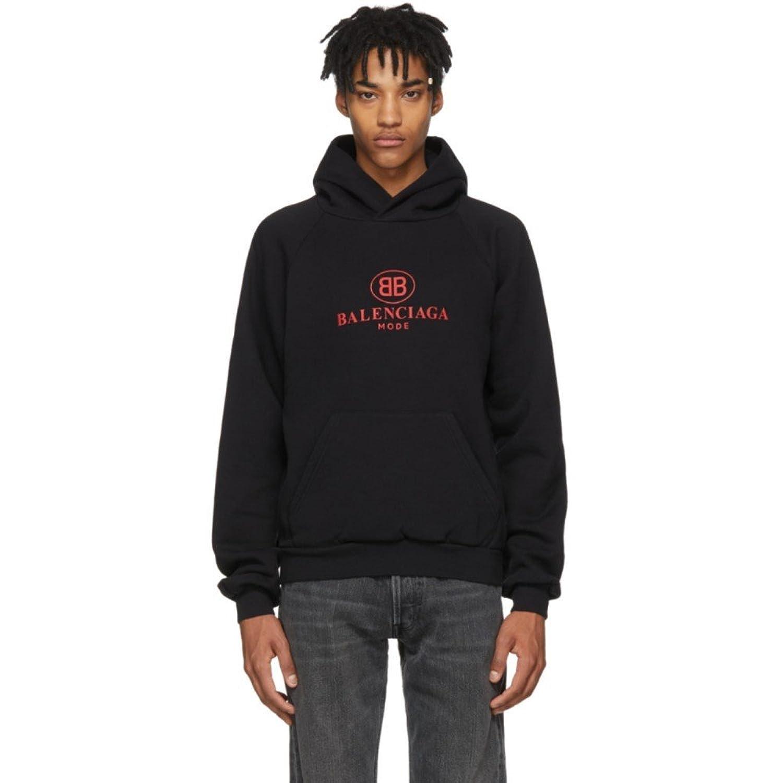 (バレンシアガ) Balenciaga メンズ トップス パーカー Black 'Mode' Logo Hoodie [並行輸入品] B07D14RH9C XXL