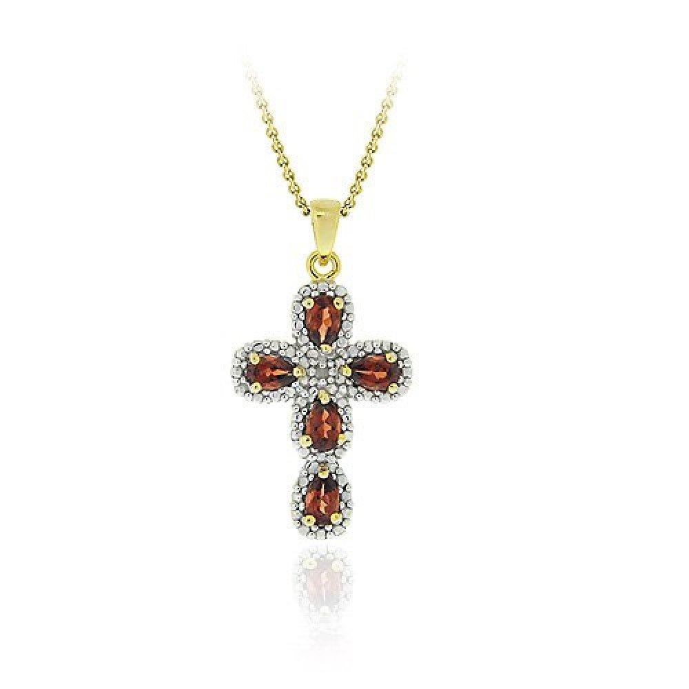 Tons dor/és sur argent sterldansg gren/à /& diamant Accent pendentif en croix