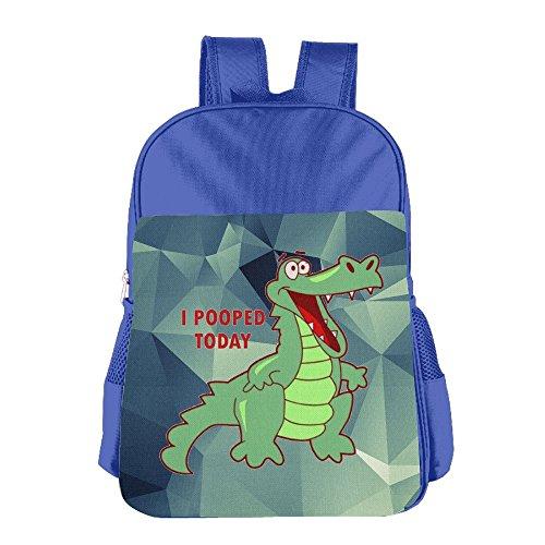 Mokjeiij Funny Alligator Pooped Today Unisex Girls Boys School Backpack Children