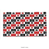 Custom printed Throw Blanket with Casino Decorations Collection Card Suits Advertising Leisure Luck Gaming Entertainment Repeat Illustration Super soft and Cozy Fleece Blanket