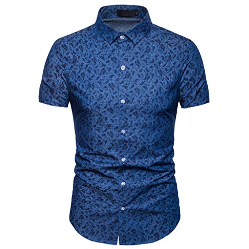 Fashion Mens Summer Print Slim Fit Shirt Formal Short Sleeve Shirts Casual Tops Darkblue -