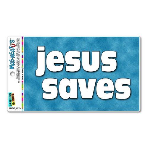 Jesus Saves - Christian Religious Inspirational MAG-NEATO'S™ Automotive Car Refrigerator Locker Vinyl (Jesus Saves Car)