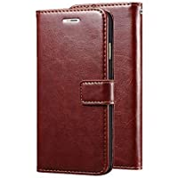 REDMI Note 7 PRO Leather Dairy Flip Case Stand with Magnetic Closure & Card Holder Cover (Brown)