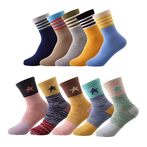 10 Pairs Kids Toddler Boys Girls Colorful Novelty Fashion Cotton Crew Socks(5-7 Years)