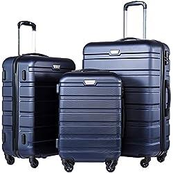 Coolife Luggage 3 Piece Set Suitcase Spinner Hardshell Lightweight (navy2)