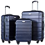 Coolife Luggage 3 Piece Set Suitcase Spinner Hardshell Lightweight (navy2)