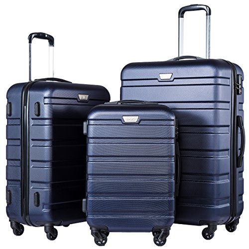 (Coolife Luggage 3 Piece Set Suitcase Spinner Hardshell Lightweight (navy2))