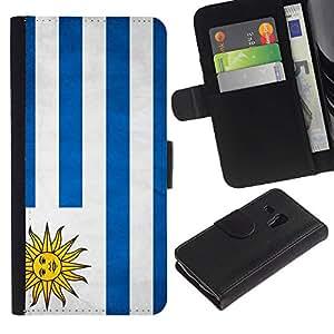 iKiki Tech / Cartera Funda Carcasa - Uruguay Grunge Flag - Samsung Galaxy S3 MINI NOT REGULAR! I8190 I8190N