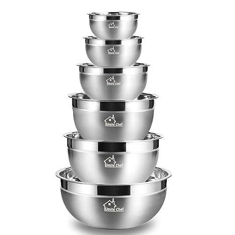 Amazon.com: Tazones para mezclar acero inoxidable, grueso ...