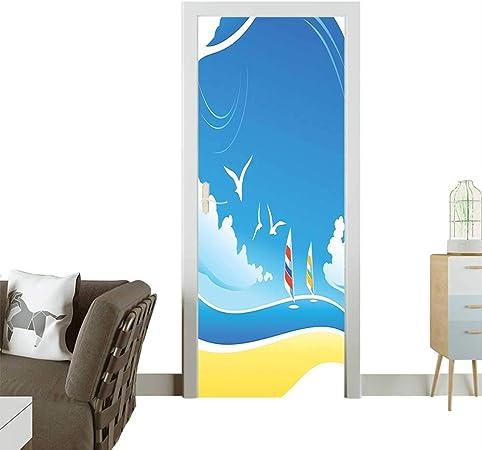 Homesonne Calcomanías para Puerta con diseño Ondulado de Agua y río, Ideal para Dibujar, adornar remolinos, Estilo caniche, Resistente a la presión: Amazon.es: Hogar