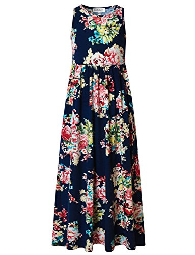 Perfashion Little Girls Empire Waist Floral Print Dressy Maxi Dress with Pockets