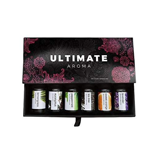 Essential oils by ULTIMATE AROMA 100% Pure Therapeutic Grade Oils kit- Top 6 Aromatherapy Oils Gift Set-6 10ML(Eucalyptus, Lavender, Lemon grass, Orange, Peppermint, Tea Tree)