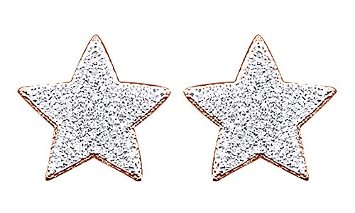 14K Rose Gold Over Sterling Silver Round Cut Natural Diamond Hip Hop Star Stud Earrings (0.45 Cttw) by wishrocks