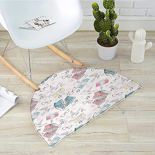 Retro Semicircle Doormat Youthful Teenager Grunge Pattern with Sneakers Photo Cameras Glasses Birds and Stars Halfmoon doormats H 15.7