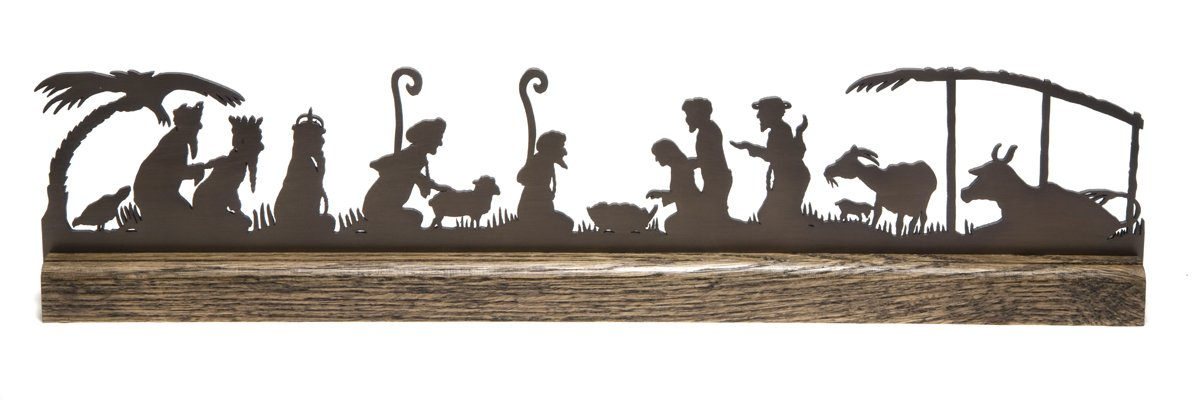 Modern Mantel Silhouette Nativity by Valerie Atkisson, Oiled Bronze