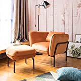 Modern Simplicity Industrial Style Frabic Club Chair With Ottoman One Seater Velvet Fabric (Cinamon Orange) Designed by Art-Leon Furniture