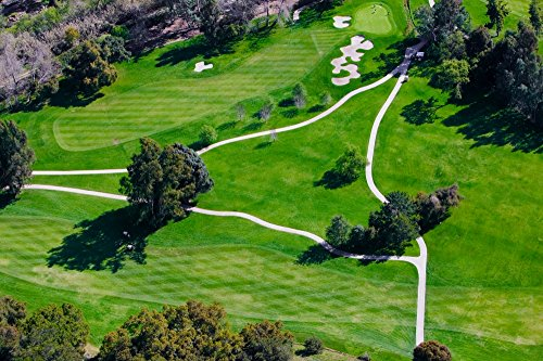 Triangular aerial view of Ojai Valley Inn Country Club Golf Course in Ventura County Ojai CA Poster Print by Panoramic Images (24 x 18)