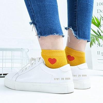 Maivasyy 5 paires de chaussettes Chaussettes Femmes Court Amour Printemps et été Anti-Skid Coton Stealth faible section fine Chaussettes Mignon, jaune