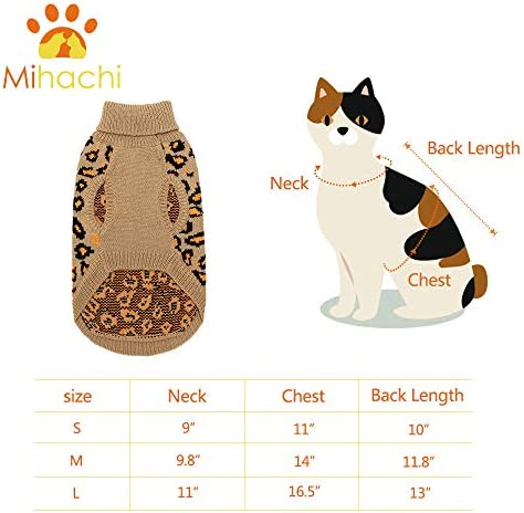Mihachi Winter Leopard Warm Cat Sweater Fashion Knit Vest for Cats Puppy Small Animals Brown 20