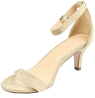 Nude Eunicer Womens Open Toe Ankle Strap Low Heel Stiletto Sandals Working Party Shoes