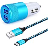 Dual USB Car Charger Adapter , HUHUTA Universal Fast Car Charger with 6ft Type C Charger Cable Cords for Galaxy S8 S9 Plus, Macbook, LG G6 V20 G5,ZTE Axon 7, Google Pixel, Nexus 6P 5X, Nintendo Switch