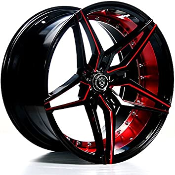 Amazon Com 20 Inch Rims Black And Red Full Set Of 4 Wheels Made For Max Performance Racing Wheels For Challenger Mustang Camaro Bmw And More Rines Para Carros 20x9 Mq 3259 Automotive