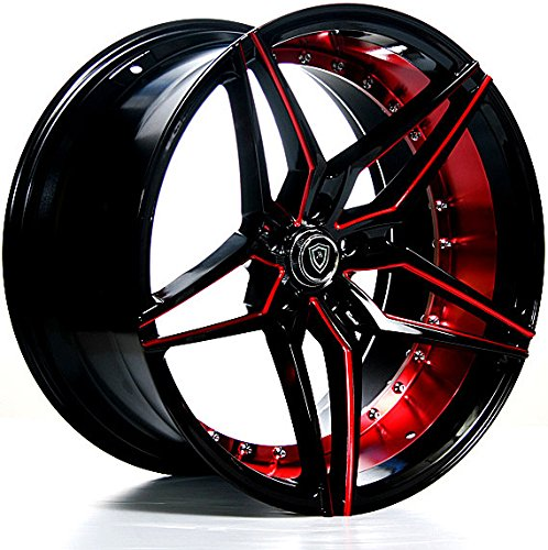 "20 Inch Staggered Rims (Black and Red) - FULL Set of 4 Wheels - Made for MAX Performance - Racing Wheels for Challenger, Mustang, Camaro, BMW and More! Rines Para Carros - (20x9"" / 20x10.5"") - MQ 3259"