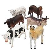 6 PCS Large Plastic Educational Farm Animals Action Figure Toys Playsets
