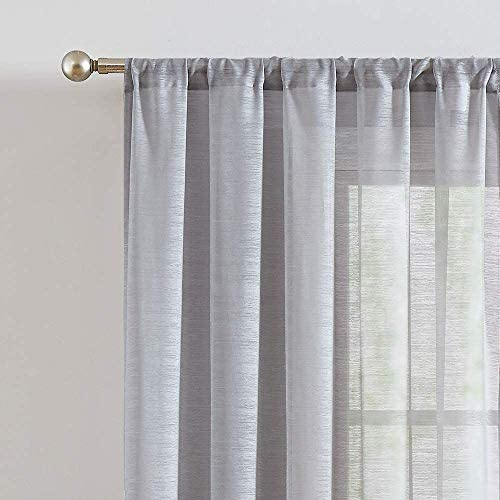 Fmfunctex Grey Sheer Curtains Window Panels 63″ Semi Sheer Draperie