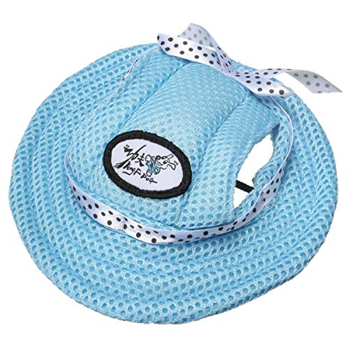 WHXYAA Pet Dog Cat Princess Mesh Strap Hat Summer Puppy Canvas Cap Sun Bonnet (Color : Color Pink)