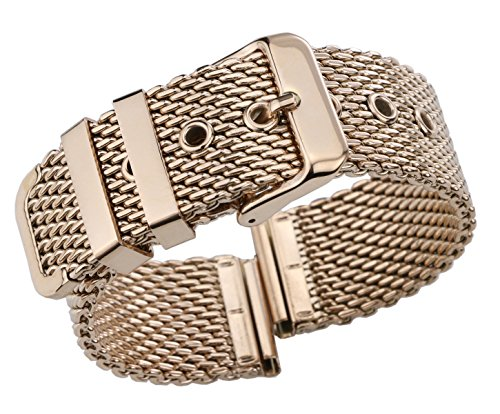 - 22mm Luxurious Rose Gold Mesh Watch Band 316L Stainless Steel Metal Chainmail Watch Strap Bracelet