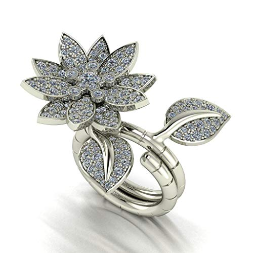 Jewelry Inspired Cartier (Van Cleef Inspired Design Lotus Flower 14k Gold Two Finger Natural Diamond Engagement Wedding Ring Ring)