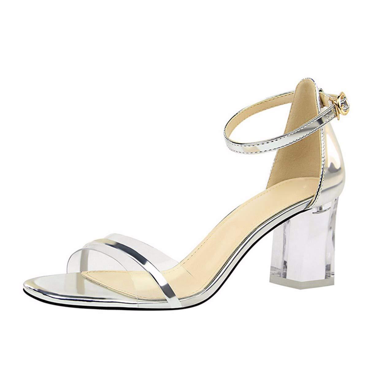 KPHY-Transparenter Folie Kristall Und Mode 7Cm High Heels Sandaleen Weiblich Dicht Und Dunkel Zehen.39 grau