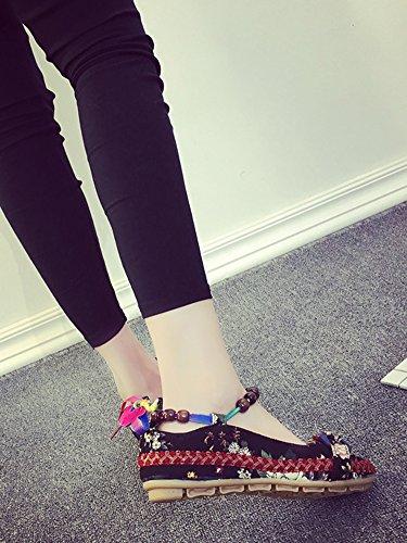 Zapatos Cuña Tela Otoño Pekín Verano Mary Zapatos Bordados Ballet Tradicionales Mujer Negro Jane de Minetom Bajo Pisos wqOYTEPxO
