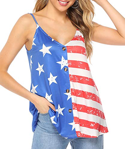 Barlver American Flag Camis Tank Tops for Women Button Down Casual Summer Sleeveless Shirts Blouse(Flag-43 -