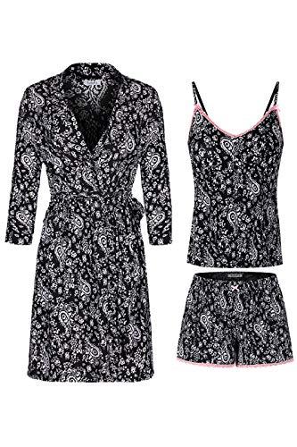 SofiePJ Women's Printed Robe Set with Chemise and Shorts 3 Piece Sleep Loungewear Black White S