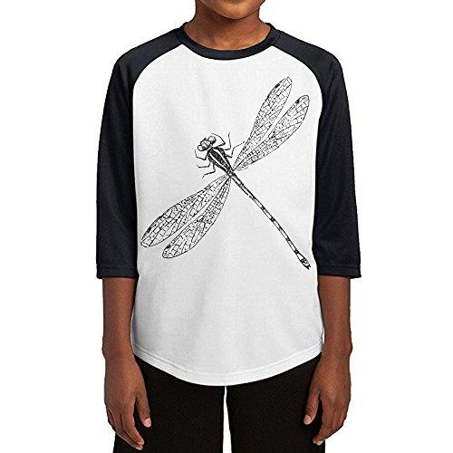 Paplo Youth Cute Cartoon Dragonfly 3/4 Sleeve Baseball Raglan 100% Cotton Tee Shirt Size M