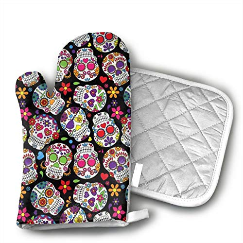 (Ubnz17X Dead Sugar Skulls Oven Mitts and Pot Holders for Kitchen Set with Cotton Non-Slip Grip,Heat Resistant)