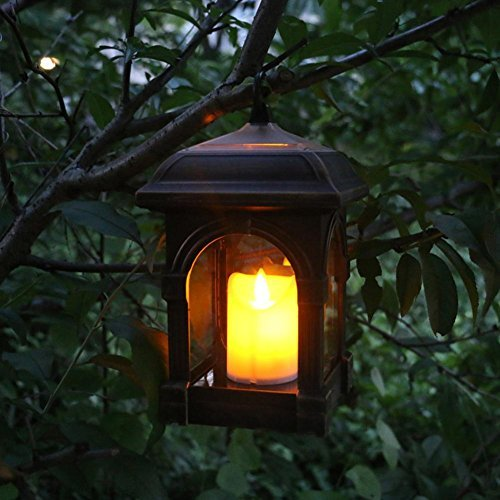 VKTECH Candle Lantern with Flameless Flickering LED Candle Waterproof IP44 Solar Decorative Light Design for Garden Restaurant Coffee Shops Driveway Deck (Copper) by Vktech
