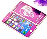 Dreams Mall(TM)Top Fashion Electroplating Mirror Effect with Skull Tempered Glass Screen Protector Film Decal Skin Sticker Front & Back for Apple iPhone 6 Plus/6S Plus 5.5 inch-Purple